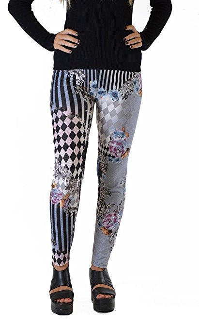 Mix media checkered Plus Size Leggings - Home Goods Galore
