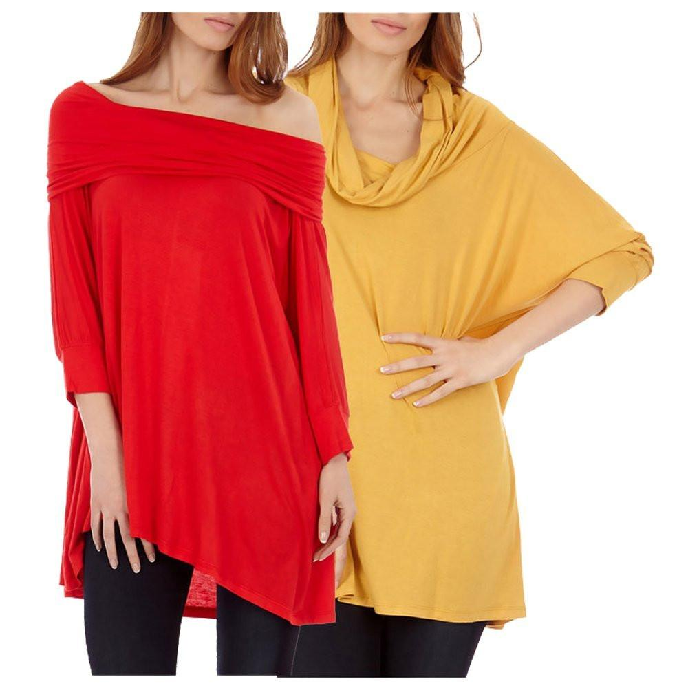 2 Pack Women's Cowl Neck Poncho Top / Sweater