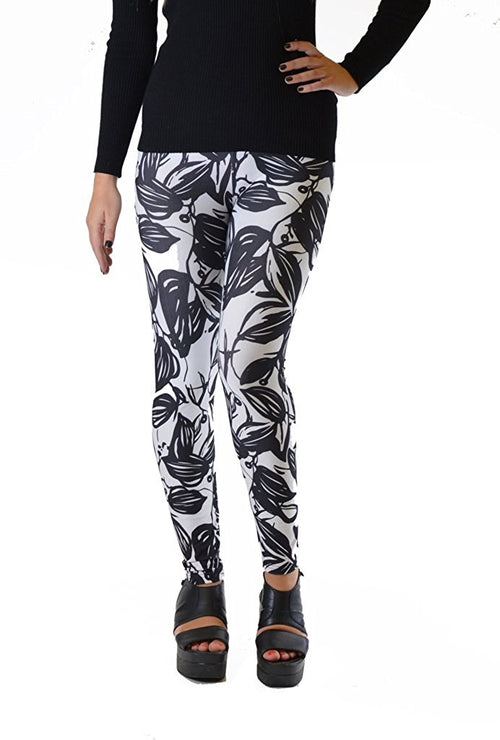 Black Leaf Silhouette Plus Size Leggings - Home Goods Galore