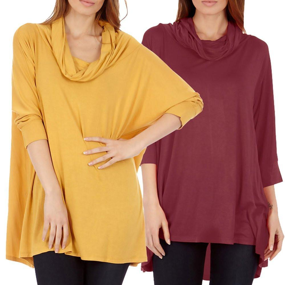 2 Pack Women's Cowl Neck Poncho Top / Sweater - Home Goods Galore