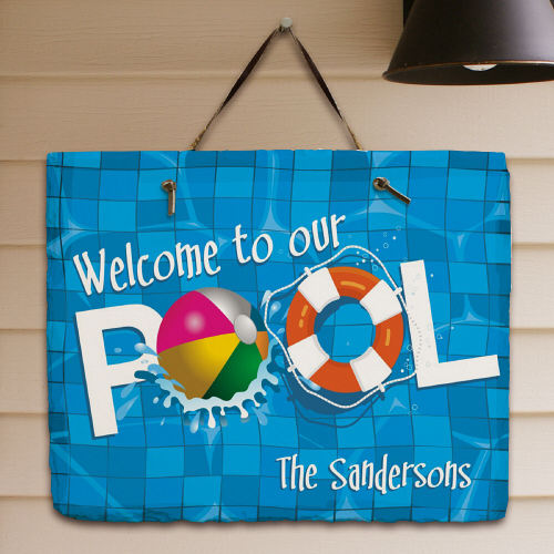 Personalized Swimming Pool Welcome Slate Plaque - Home Goods Galore