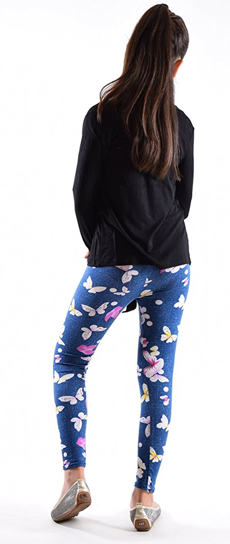 Girls Fun Printed Leggings-Happy Place - Home Goods Galore