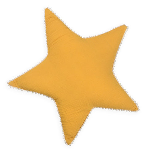 Mustard Star Tetra Cotton Decorative Pillow