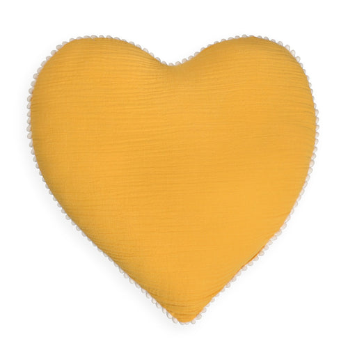 Mustard Heart Tetra Cotton Decorative Pillow
