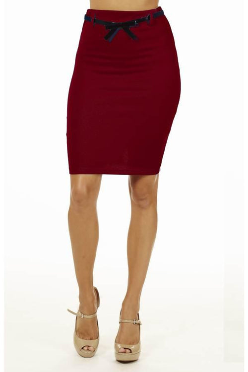 Burgundy High Pencil Skirt - Home Goods Galore