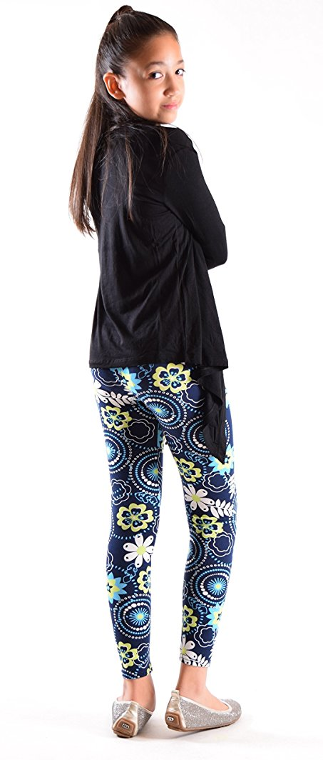 Girls Fun Printed Leggings-Blue Circles - Home Goods Galore