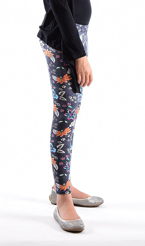 Girls Fun Printed Leggings-Black Blue Paisely - Home Goods Galore