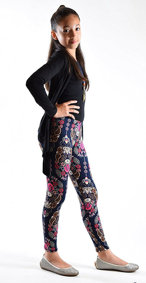 Girls Fun Printed Leggings-Paisely Royal - Home Goods Galore