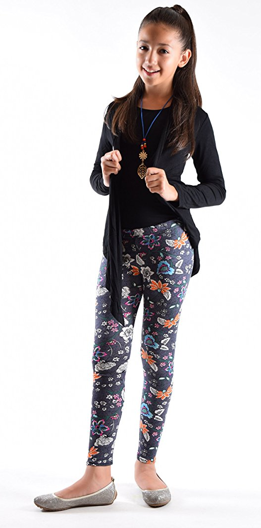 Girls Fun Printed Leggings-Grey Floral - Home Goods Galore