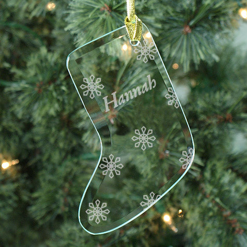 Engraved Snowflake Glass Stocking Ornament - Home Goods Galore