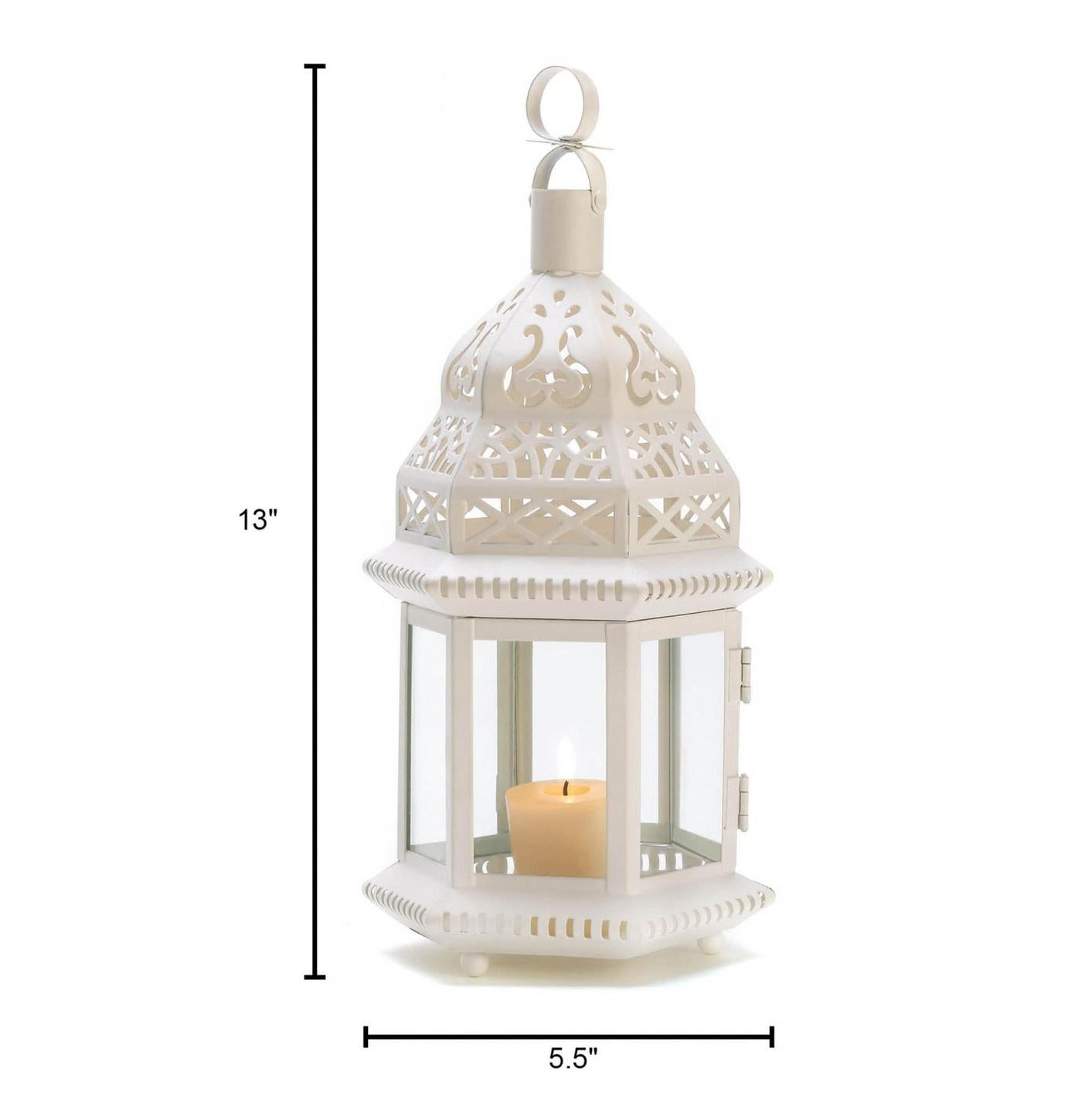 Moroccan White Candle Lantern - 13 inches