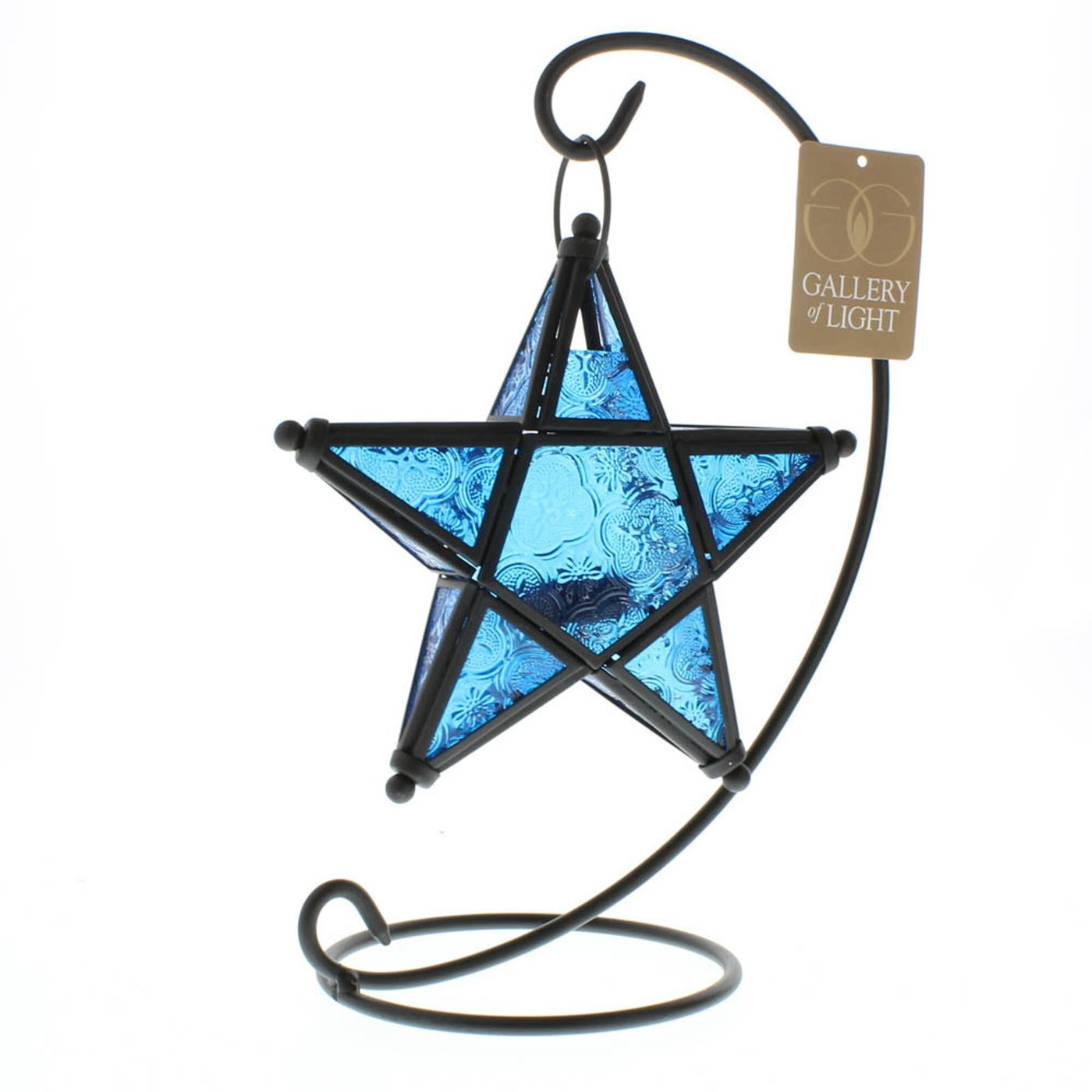 Blue Glass Hanging Star Candle Lantern