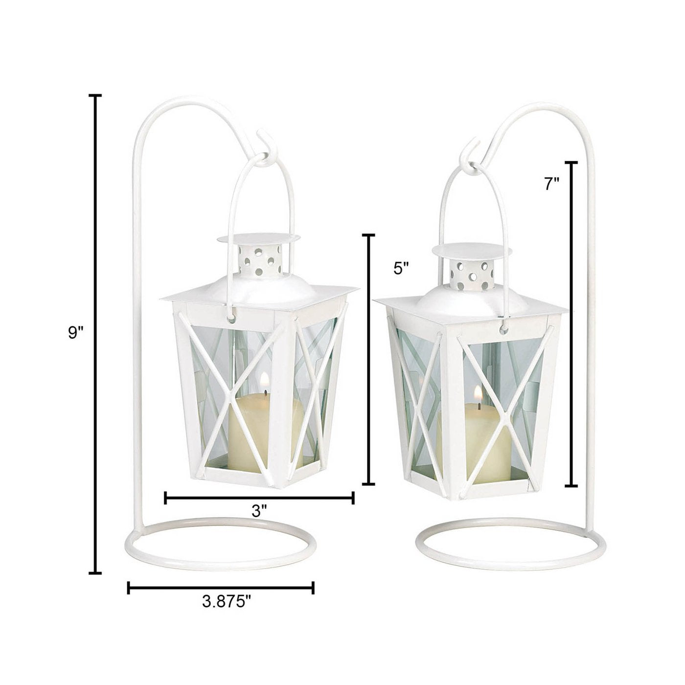 Mini Railroad-Style Candle Lantern Pair