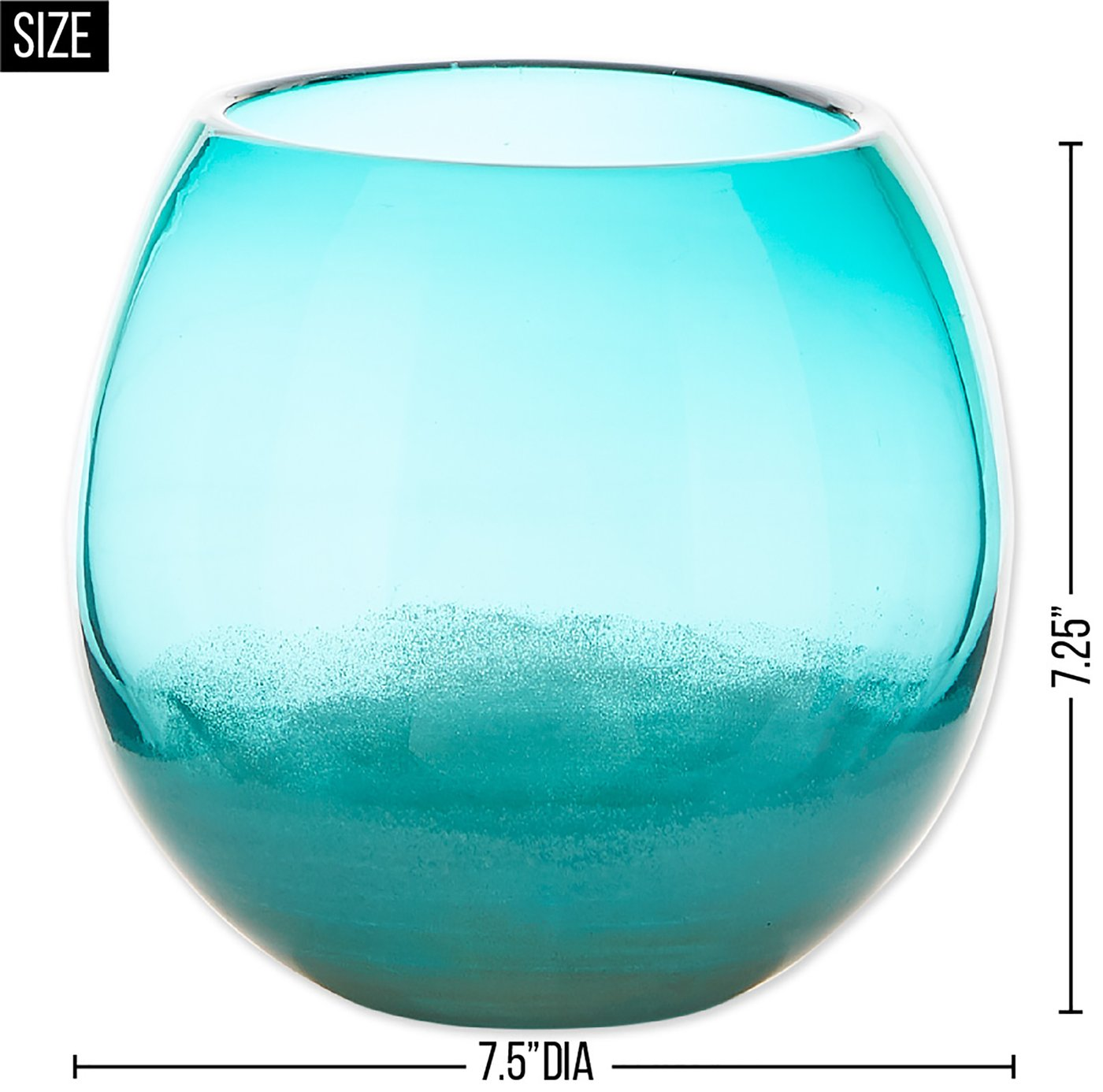 Fish Bowl Style Vase - Aqua Gradient 7.25 inches