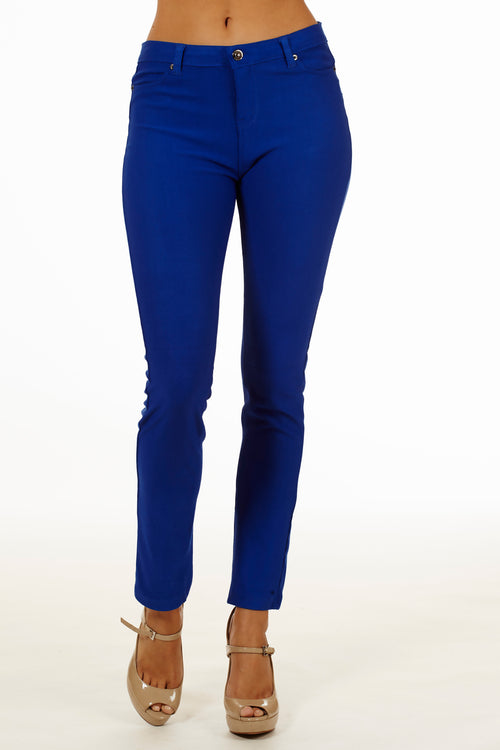 5 Pocket Slim Fit Skinny Pants-Royal - Home Goods Galore
