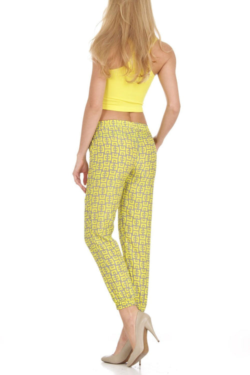 Yellow and Tan Print Harem Jogger Pants