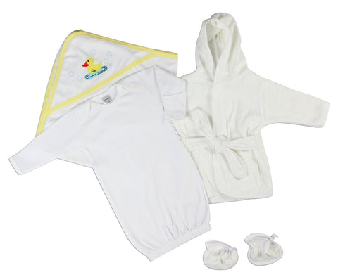 Bambini Newborn Baby Girls 3 Pc Layette Set (Gown, Robe, Fleece Blanket)