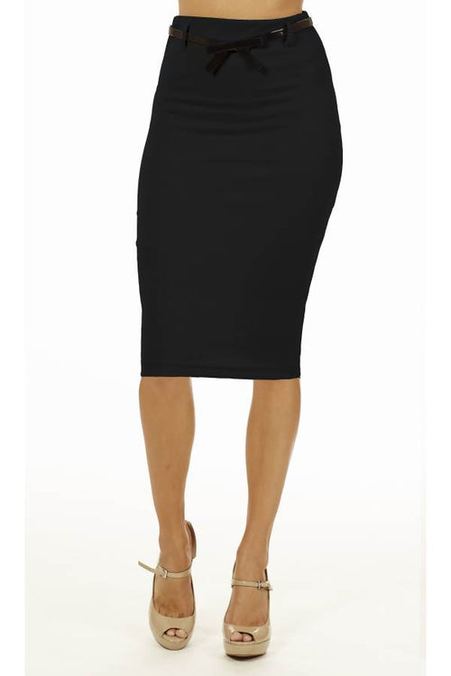 Black Below The Knee Pencil Skirt - Home Goods Galore