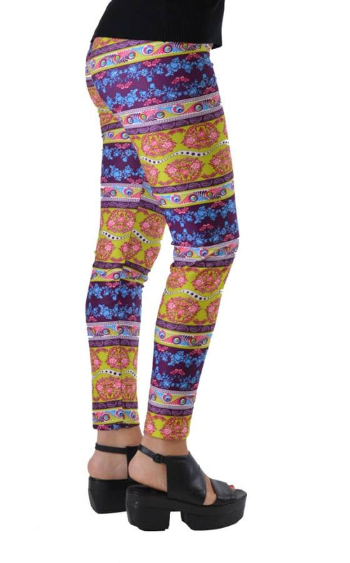 Funky Fresh Boho Paisley Plus Size Ankle Leggings - Home Goods Galore
