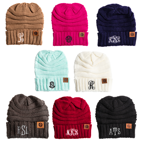 Ladies Monogram Adult Beanie's
