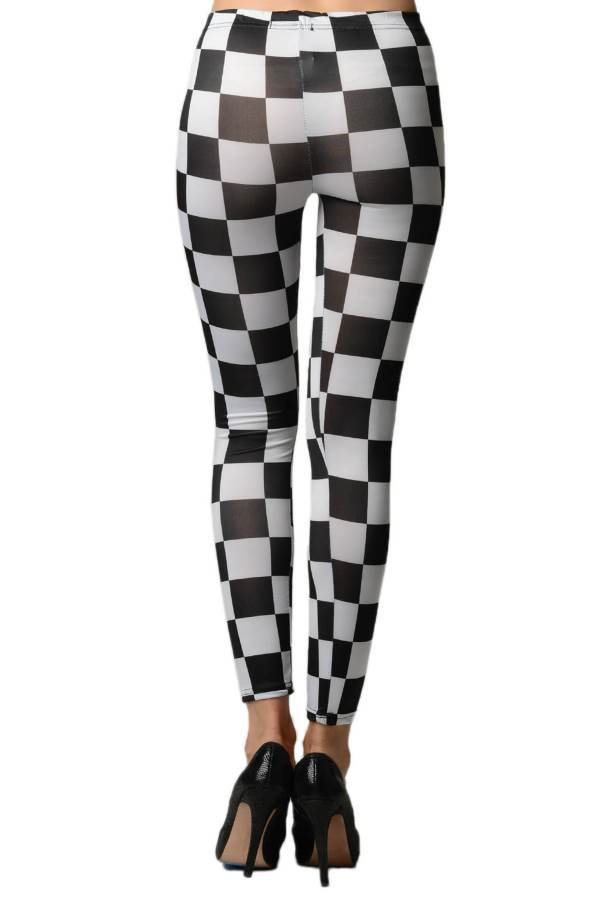 Black & White Checkered Leggings - Home Goods Galore