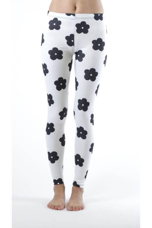 Black Flower Footless Print Leggings - Home Goods Galore