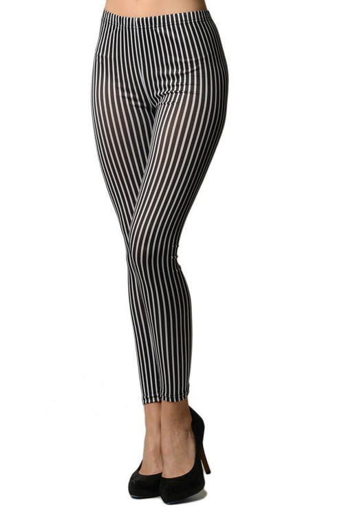 Black & White Vertical Striped Ankle Leggings - Home Goods Galore