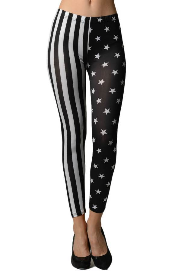 Black & White American Stars & Stripes Flag Leggings - Home Goods Galore