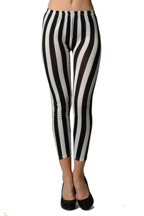 Black and White Vertical Stripes Ankle Length Leggings