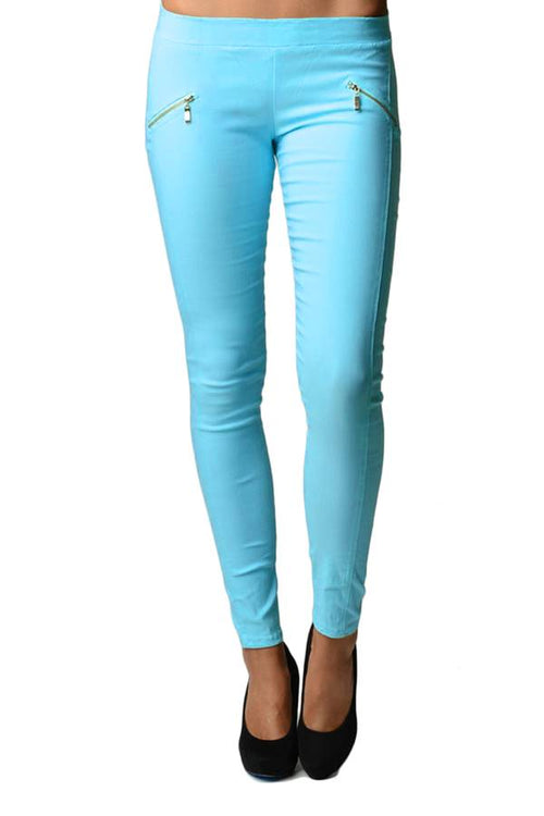 Blue Slim Fit Cross Zipper Jeggings - Home Goods Galore