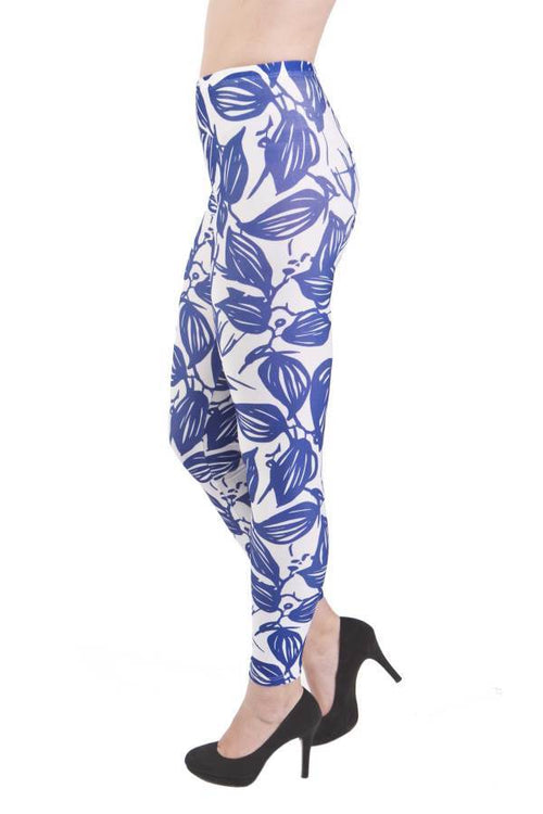 Bold Leaves Blue Microfiber Leggings - Home Goods Galore