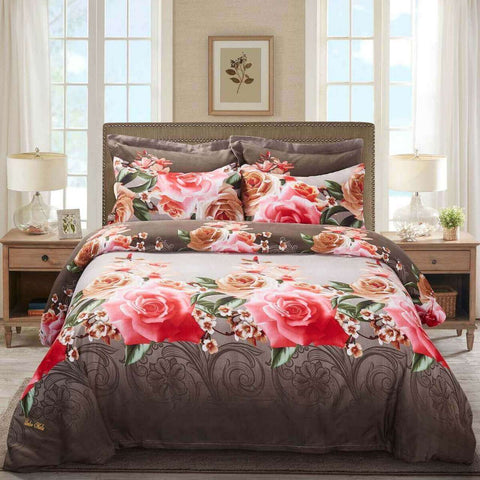 Queen Size Duvet Cover Set, 6 Piece Luxury Floral Bedding, Dolce Mela  Innocence  DM723Q