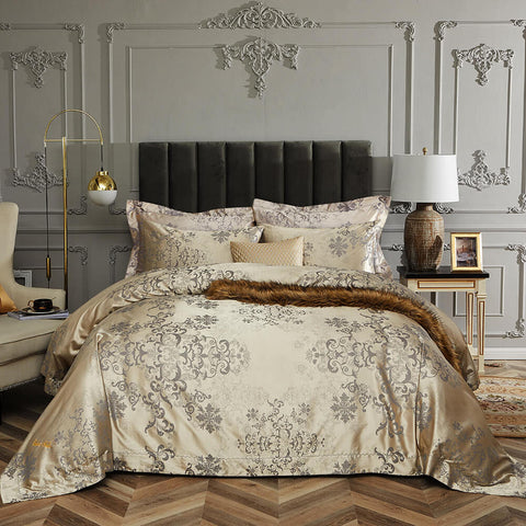 Queen Size Duvet Cover Set, 6 Piece Luxury Jacquard Bedding, Dolce Mela Hollywood DM714Q