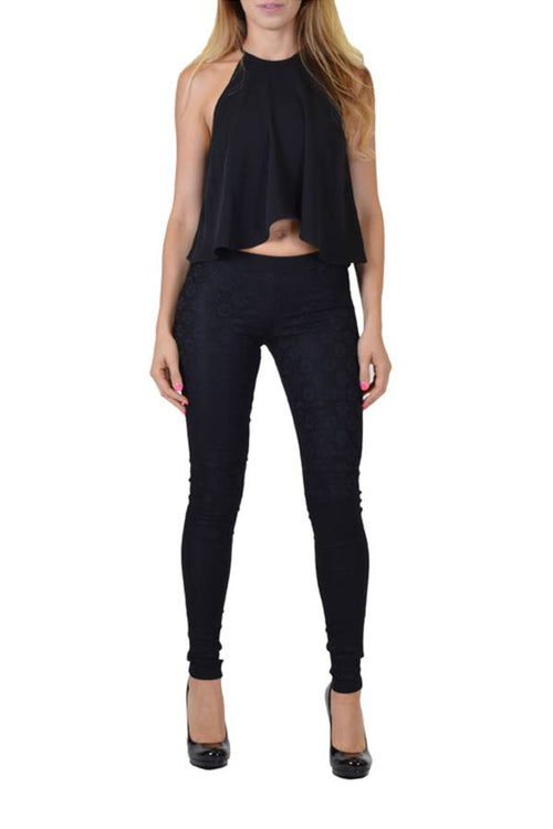 Stretch Black Jeggings With Crochet Front - Home Goods Galore