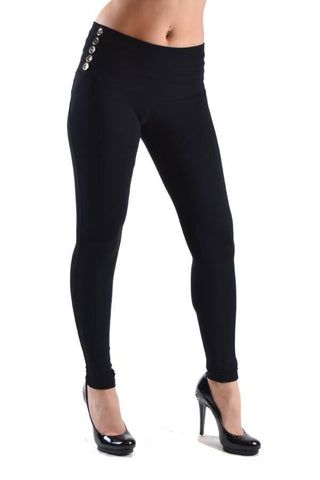 Black High Waisted Side Button Jeggings