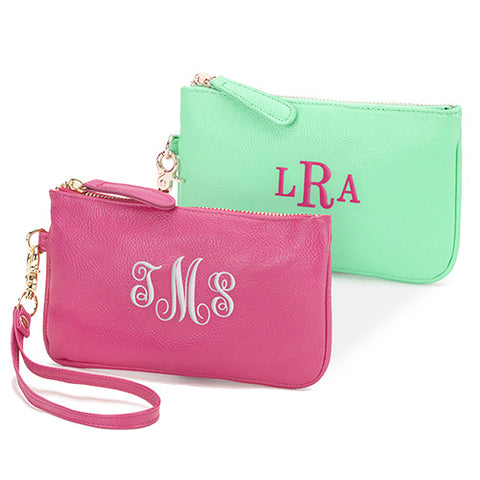 Leatherette Wristlet with Embroidered Monogram - Home Goods Galore