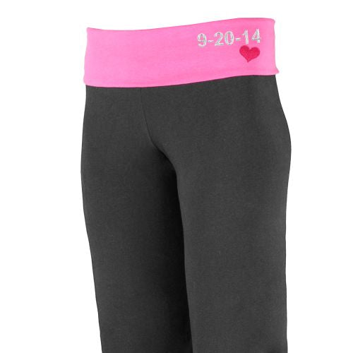 Embroidered Wedding Date Ladies Yoga Pants - Home Goods Galore