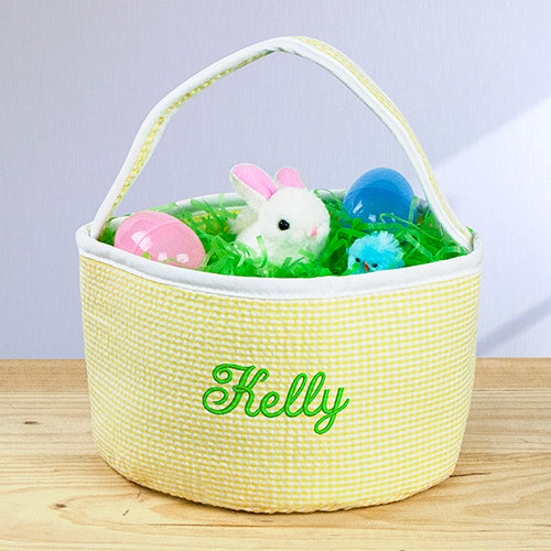 Embroidered Seersucker Round Caddy - Home Goods Galore