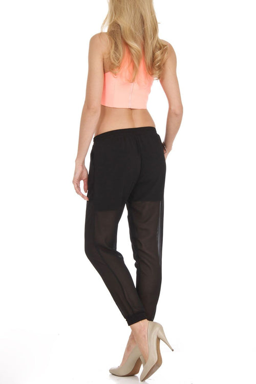 Black Chiffon Harem Pants - Home Goods Galore