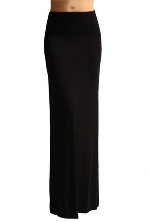 Fold Over Black Maxi Skirt - Home Goods Galore