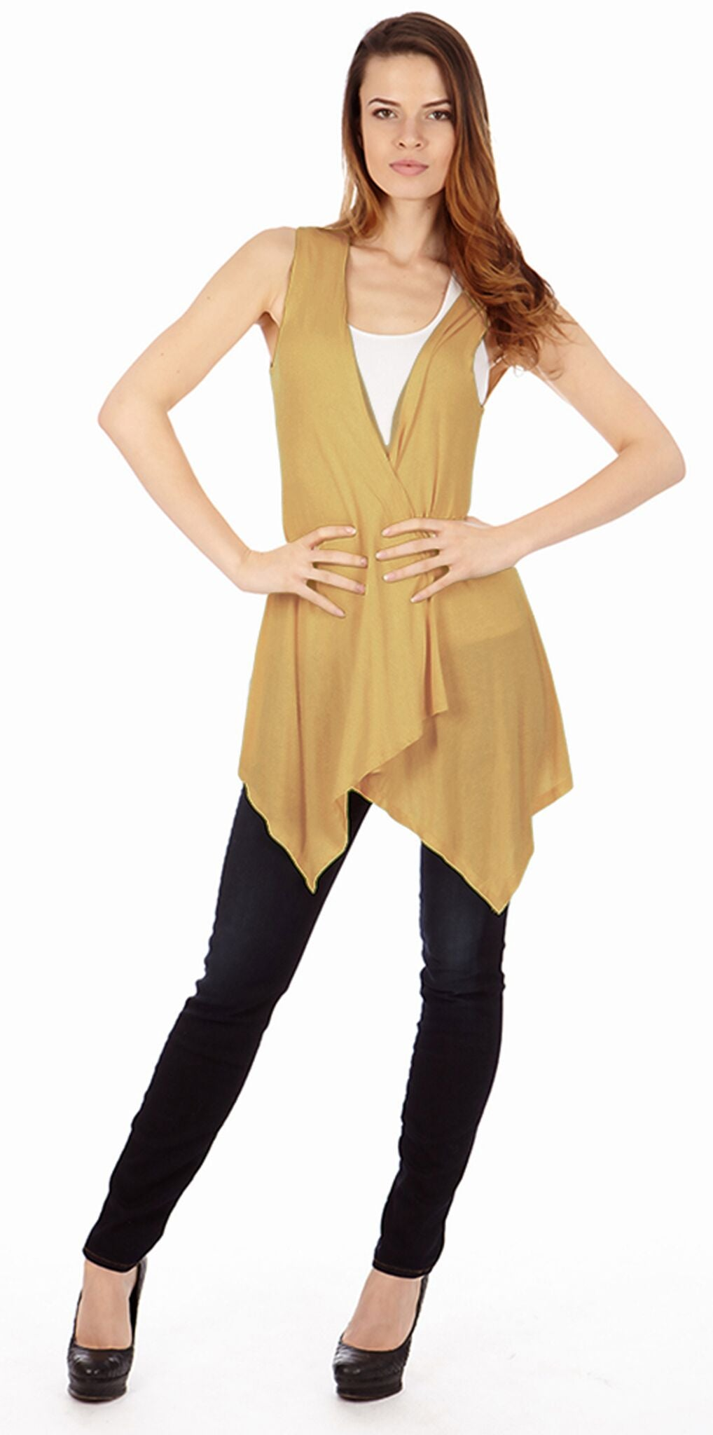 Tan Sleveless Cardigan - Home Goods Galore