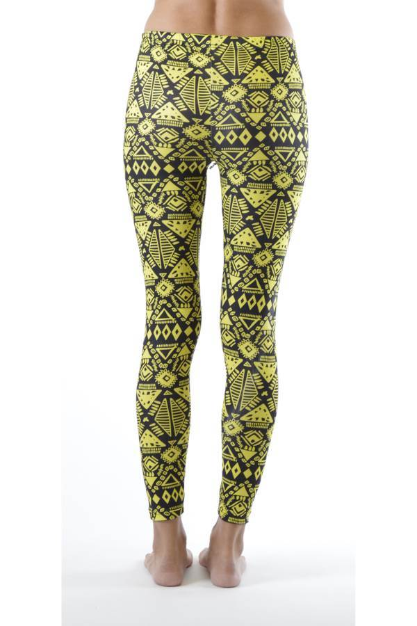 Funky Yellow Tribal Ankle Leggings - Home Goods Galore