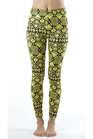 Black Flower Footless Print Leggings