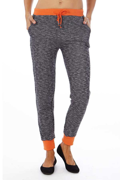 Neon Orange Heather French Terry Joggers - Home Goods Galore