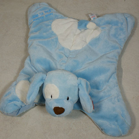 Embroidered Blue Spunky Puppy Baby Blanket - Home Goods Galore