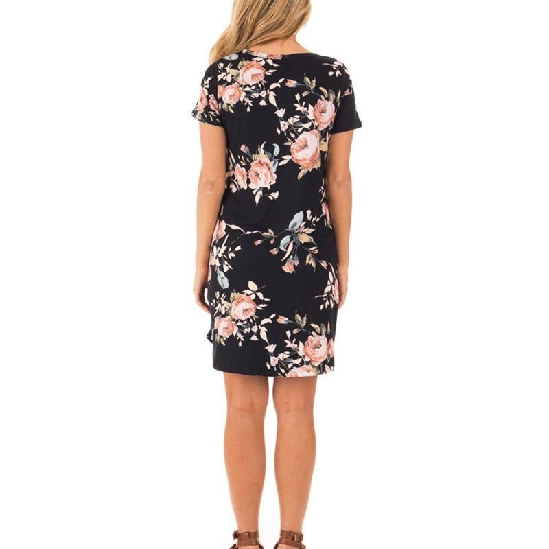 Floral Print Short Sleeve Dress