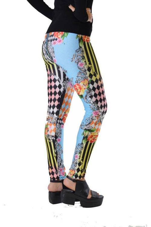 Harlequin Style Striped Floral Leggings - Home Goods Galore