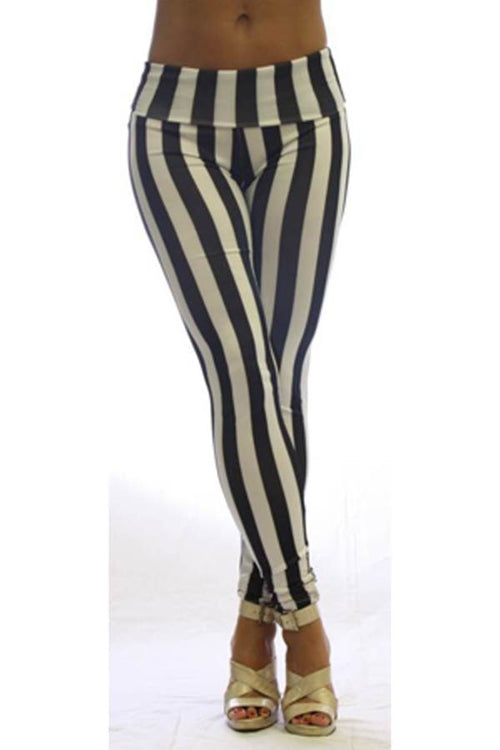 High Waist Black & White Stripe Footless Leggings - Home Goods Galore