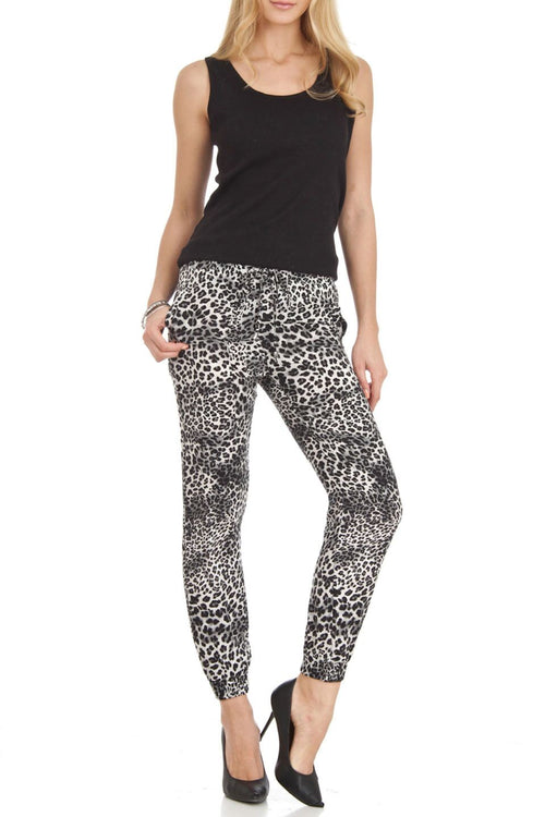 Grey Leopard Print  Harem Style Jogger Pants - Home Goods Galore