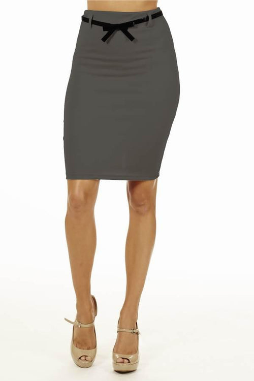 Dark Grey High Pencil Skirt - Home Goods Galore